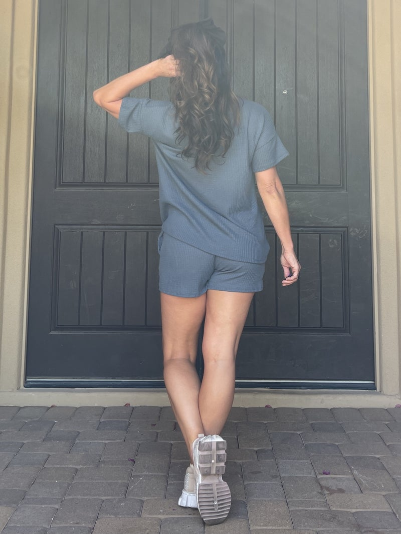 Slate Blue Waffle Knit Top & Shorts Set