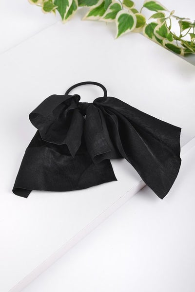 Black Ribbon Bow Hair Tie