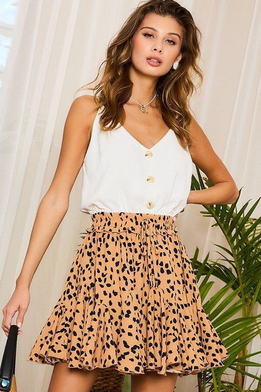 Leopard & White V-Neck Button Down Ruffle Skirt Romper