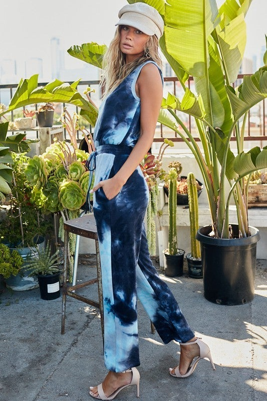 Navy & Light Blue Sleeveless Tie-Dye French Terry Jumpsuit