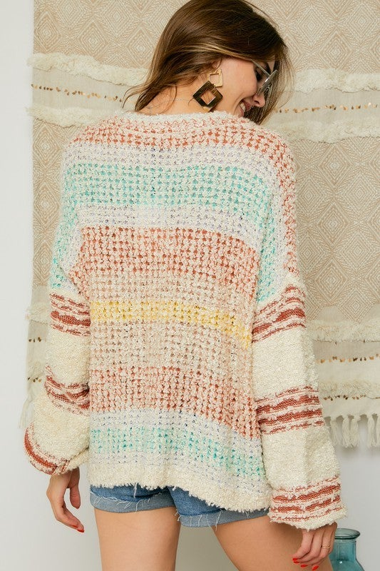 Rust & Mint Fluffy Shaggy Faux Fur Cozy V-Neck Sweater
