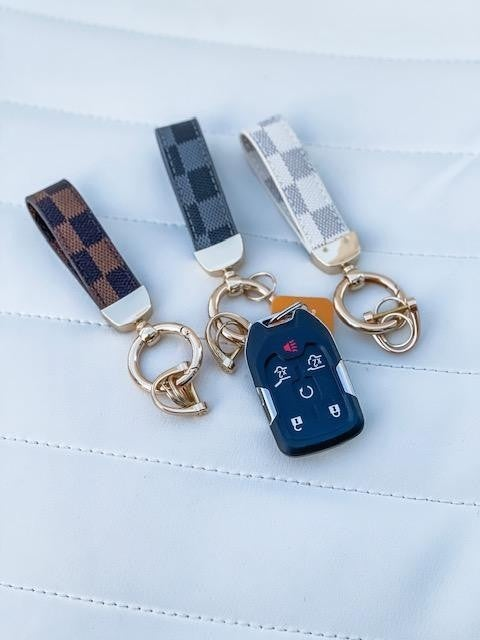 Black Lacey Check Keychain