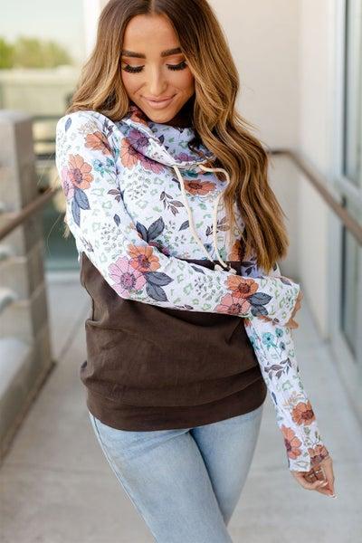 Brown Wildflower Patchwork Thumbhole Cowl Neck Sweatshirt