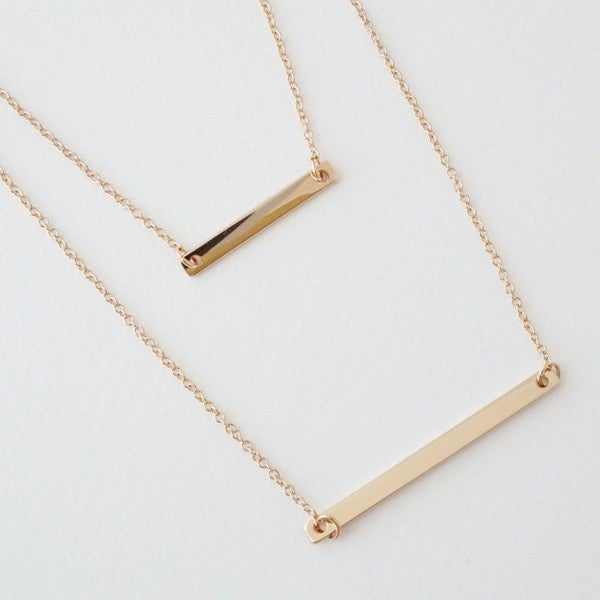 18K Gold Plated Layered Bar Necklace