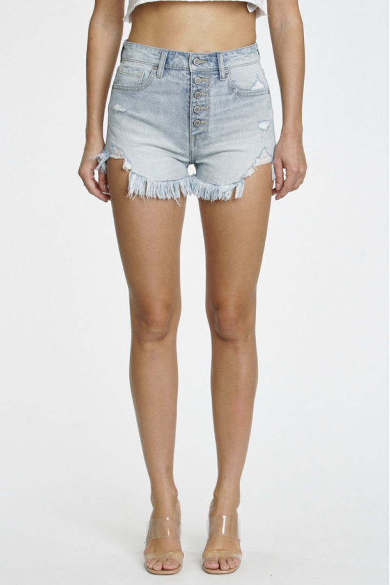 Light Wash High Rise Button Fly Wipe Out Frayed Hem Denim Shorts