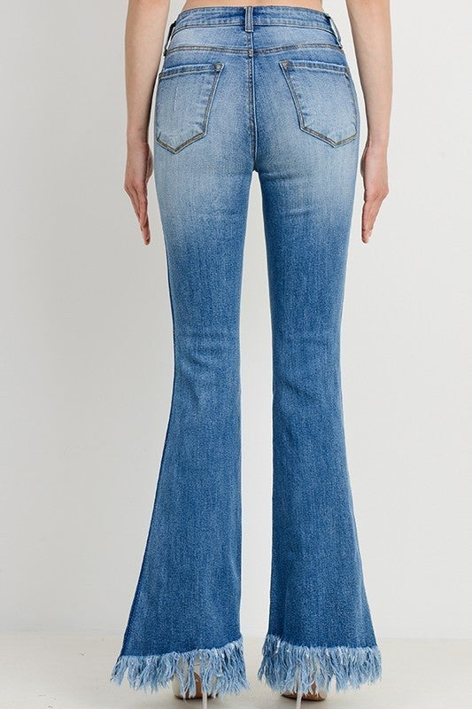 Medium Contrast Washed Frayed Flare Jeans