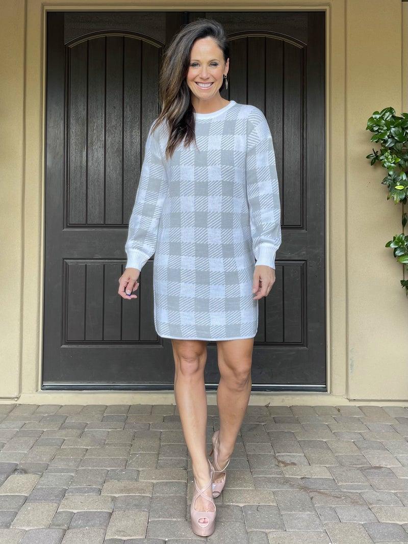 Gingham Baloon Sleeve Sweater Dress