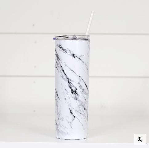 White Marble Tall Travel Cup with Straw & Lid
