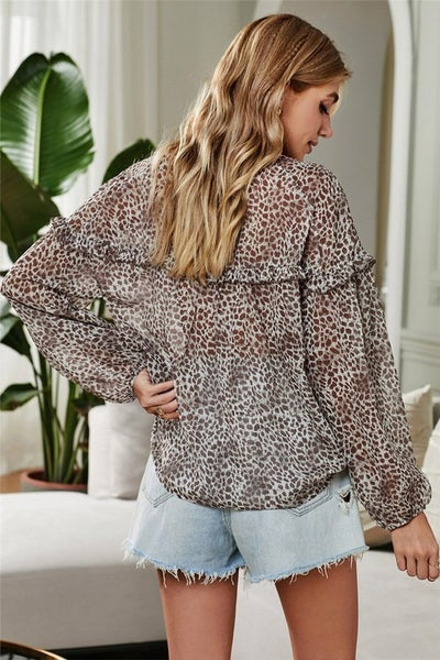 Print Semi Sheer Ruffled Relaxed Fit Blouse