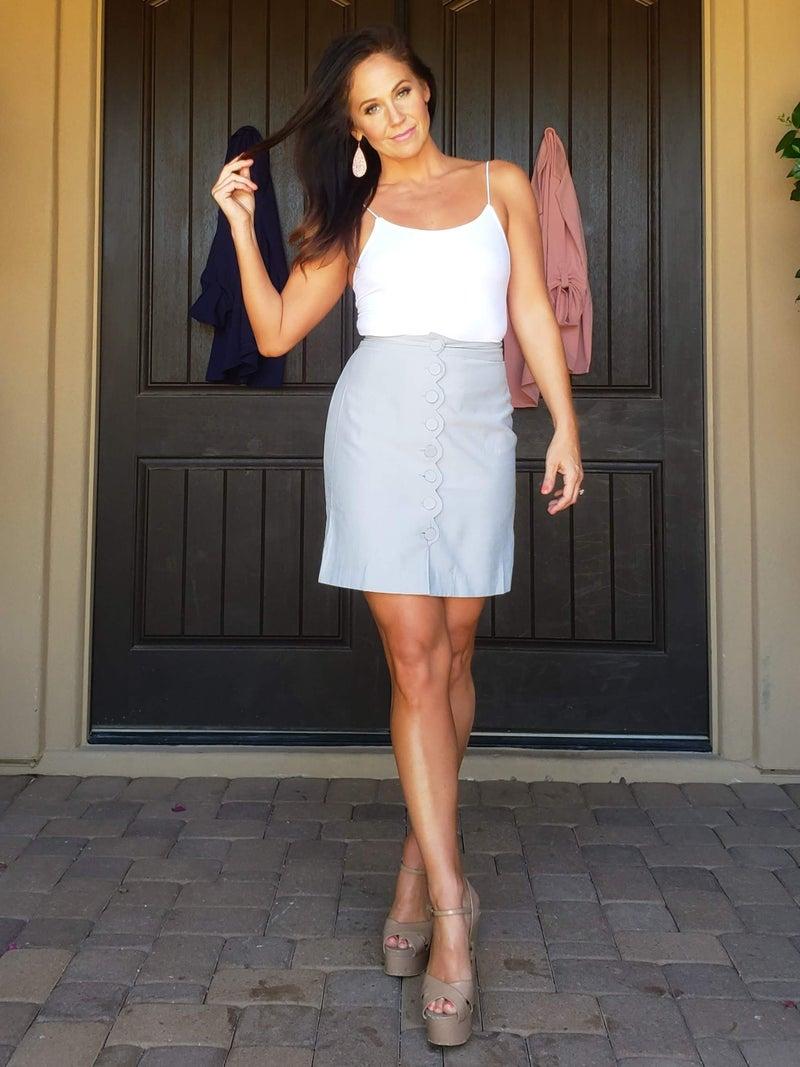Stone Grey Scalloped Button Detail Skirt