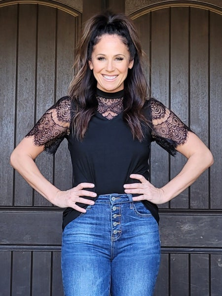 Black Dainty Lace High Neck Blouse