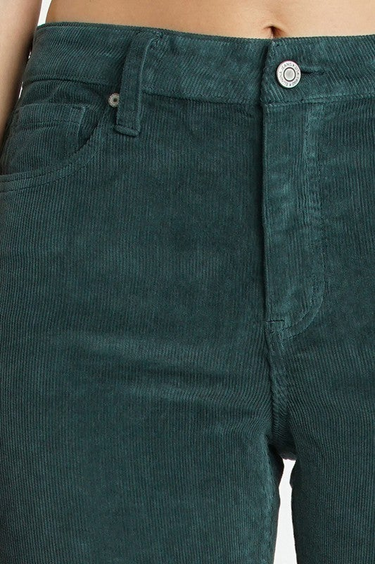 Green Corduroy High Rise Skinny Croppes 5 Pocket Stretch Skinnies
