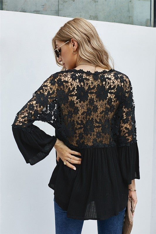 Crochet Floral Lace Sheer Back Bell Sleeve Blouse