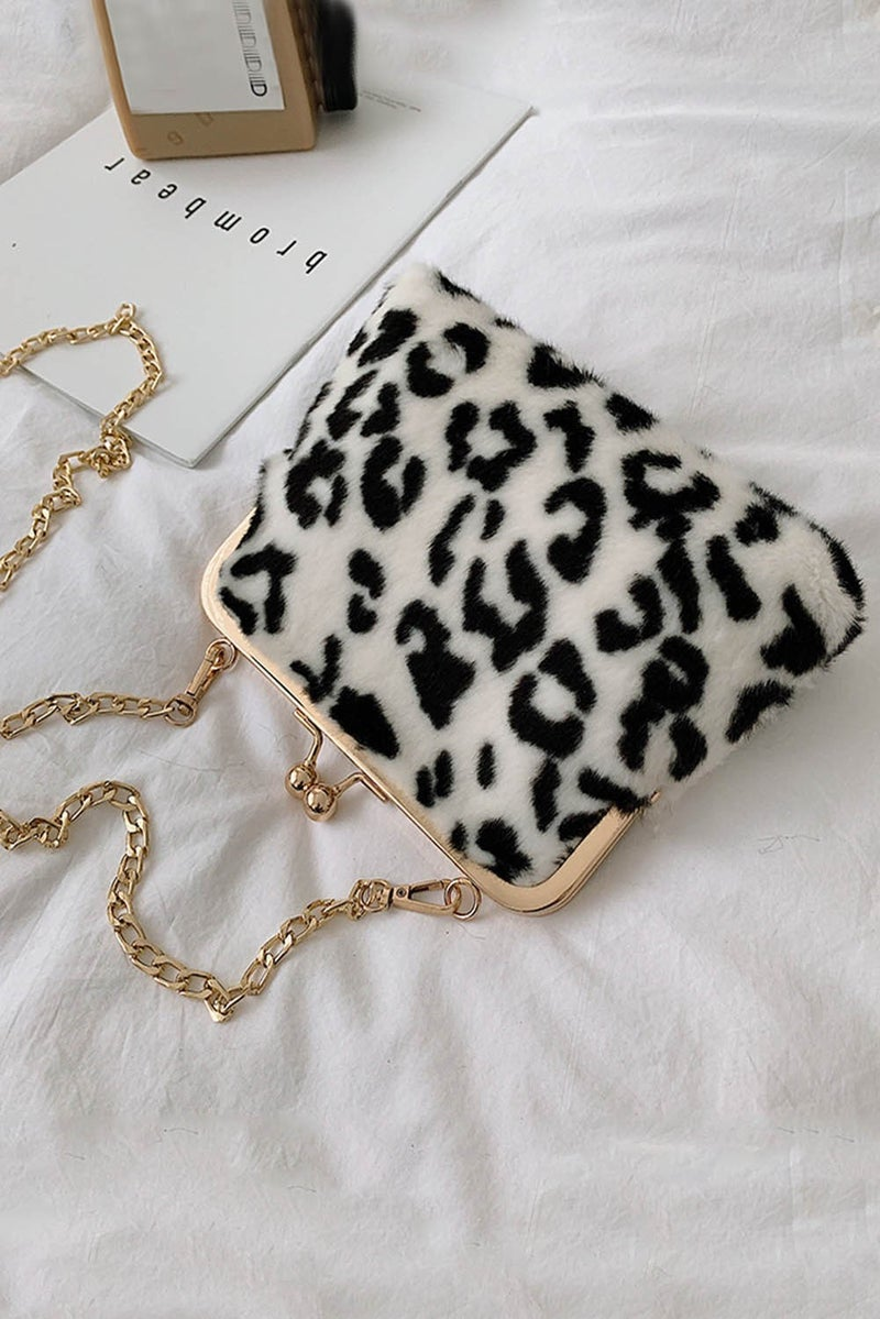 Fluffly Leopard Faux Fur Gold Chain Crossbody Bag