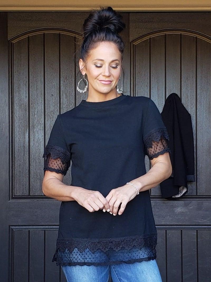 Black Lace Sleeve & Bottom Hem Detail Tee