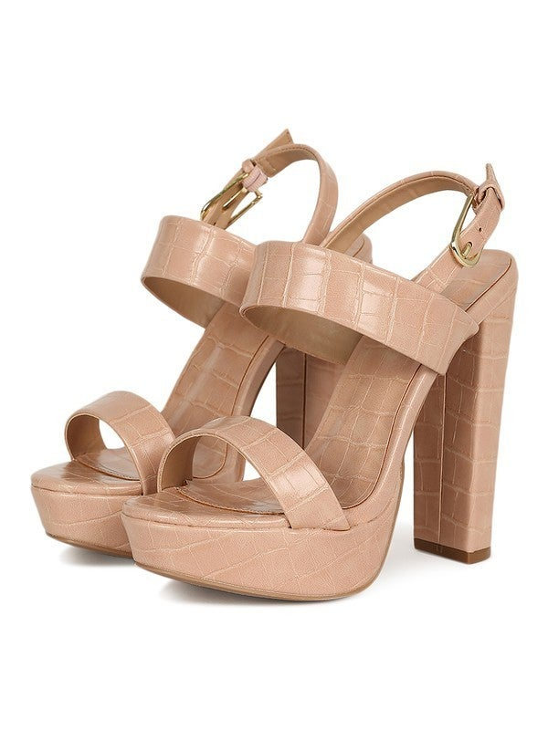 "Nude Strappy 5"" Platform Buckle Strap Chunky Heels"