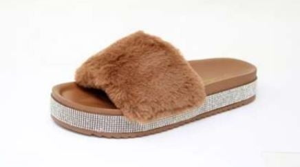 Rhinestone Lined Faux Fur Slides
