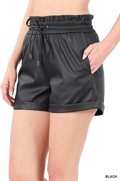 Vegan Leather PaperBag Shorts