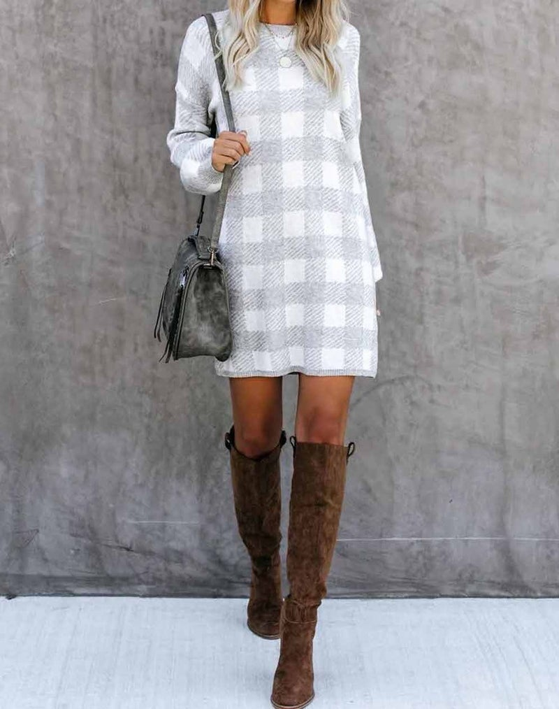 Grey & White Gingham Baloon Sleeve Sweater Dress