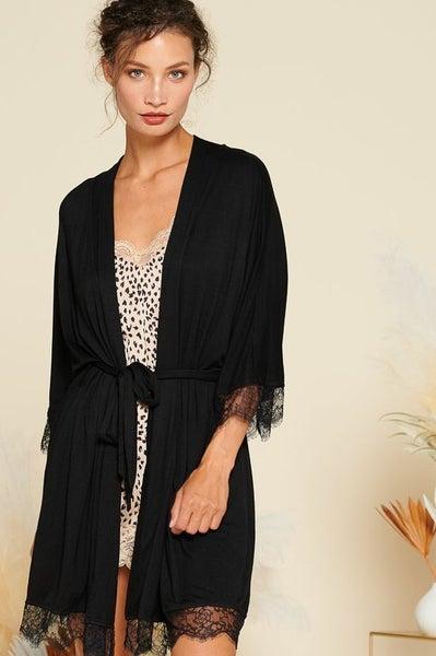 Black Lea Lace Jersey Knit Robe