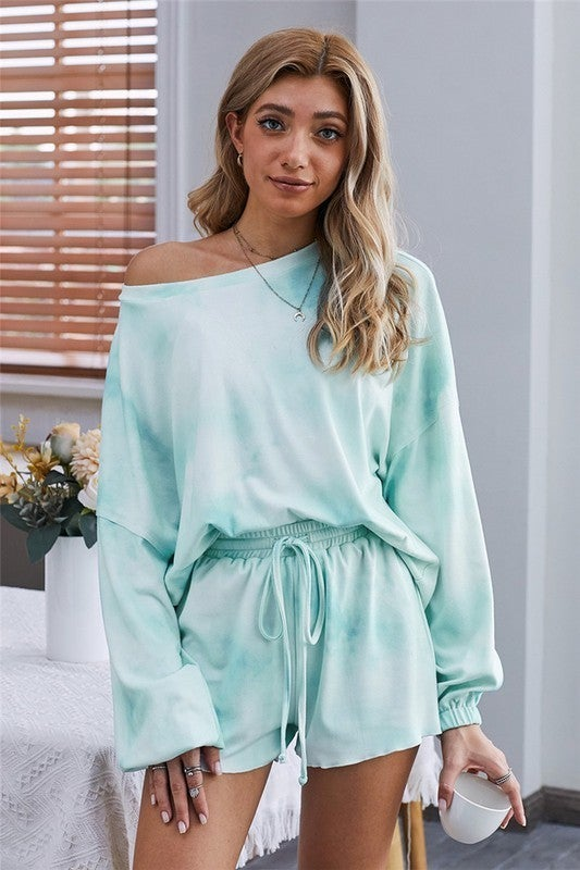 Tie Dye Long Sleeve & Shorts Pajama Loungewear Set