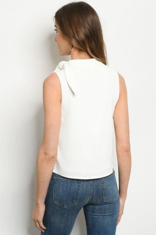 Off-White Sleeveless Tie Neck Tank Blouse