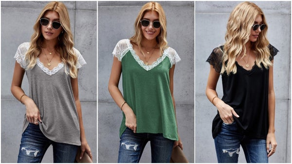 Lace Short Sleeve Detail Relaxed Fit Tee