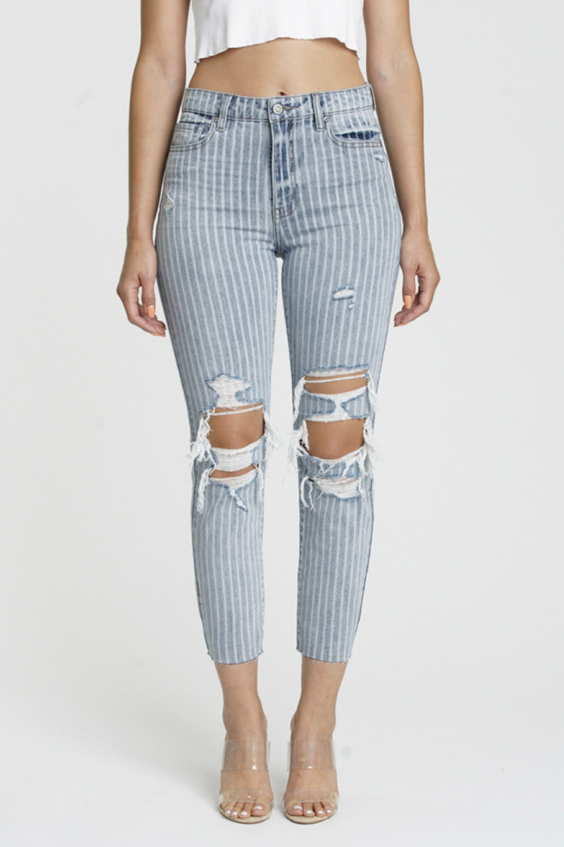 Medium Wash Parallel Lines High Rise Cropped & Destroed Knee Jeans