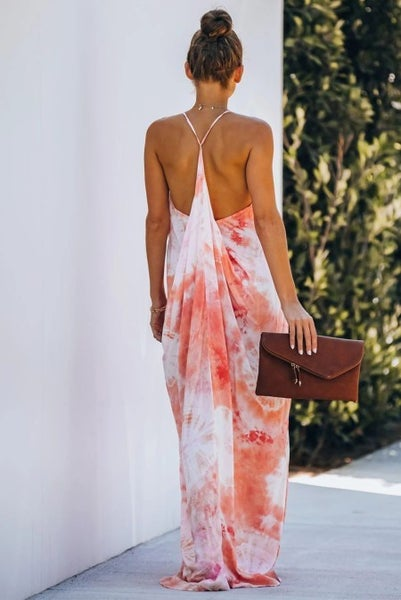 Tie Dye Drapped Back Maxi Dress
