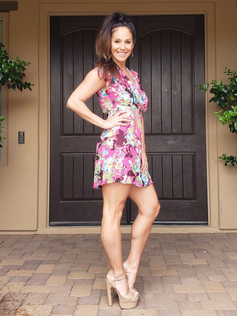Pink Floral Sleeveless V-Neck Wrap Style Elastic Waist Dress