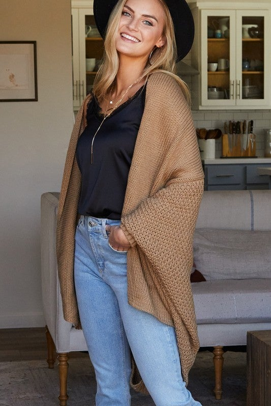 Mocha Long Sleeve Open Front Chunky Cardigan