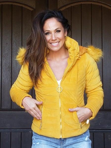Mustard Velvet Faux Fur Puffer Jacket