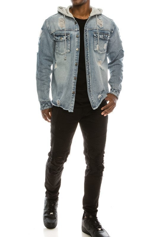 Men's Light Acid Wash Distressed Grey Hooded Denim Button Up Shirt/Jacket