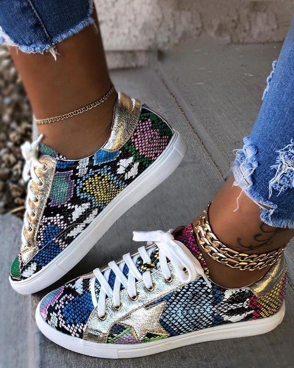 Multi Color Snake Print Golden Goose Look-A-Like Lace Up Star Sneakers