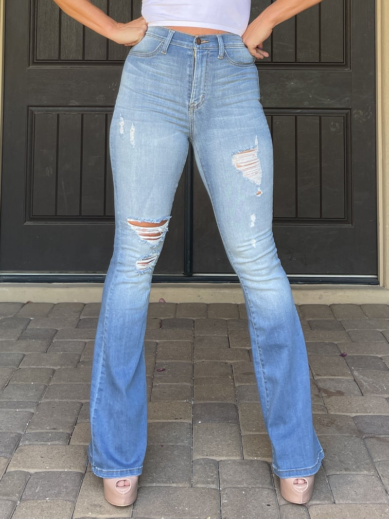 Light to Medium Ombre Wash Distressed High Rise Stretchy Flare Jeans