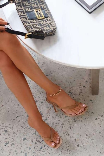 Square Toe  Thong Sandal Heels
