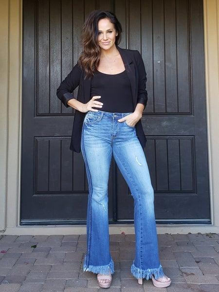 Medium Contrast Washed Frayed Flare Jeans