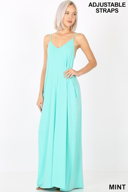 V-Neck Cami Maxi Dress with Adjustable Straps & POCKETS