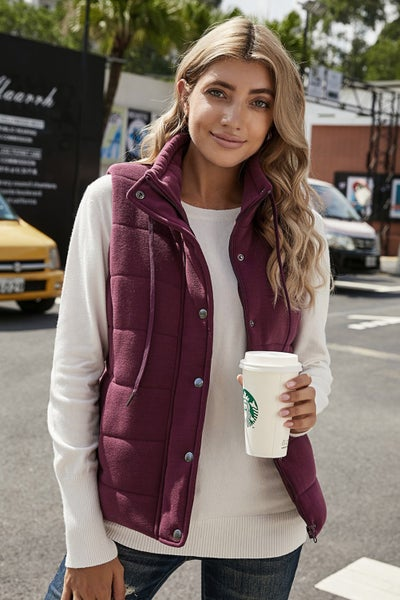Quilted Mock Neck Sanp & Zip Vest