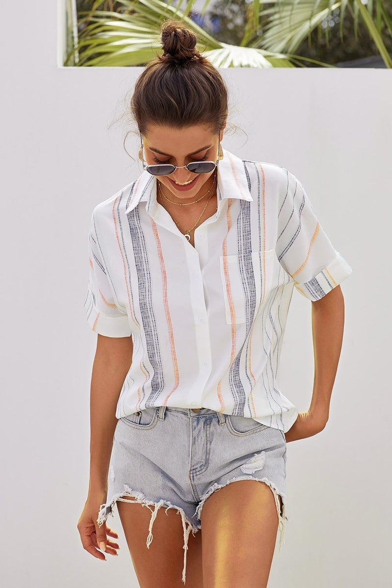 Off White Orange & Denim Muted Stripe Rolled Up Short Sleeve Button Down Oxford