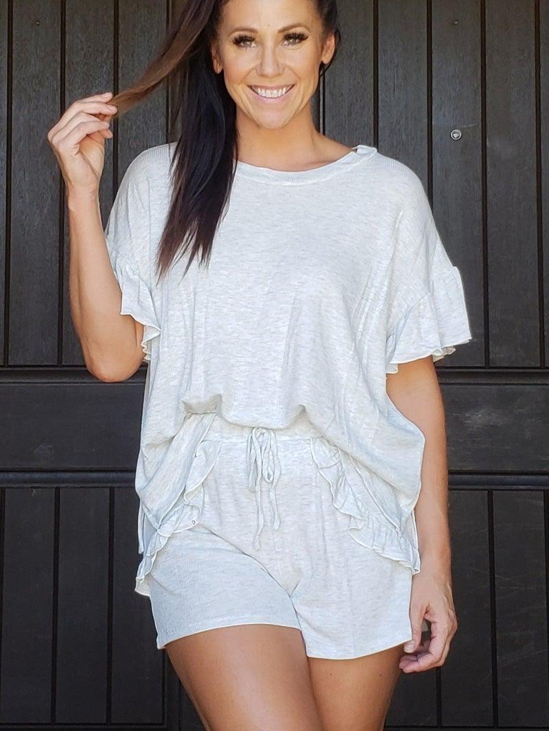 Heather Grey Ruffled Sleeve & & Shorts Lounge Set