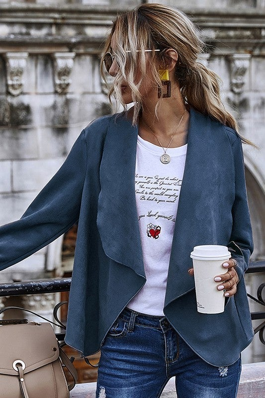 Faux Suede Long Sleeve Draped Front Cardigan