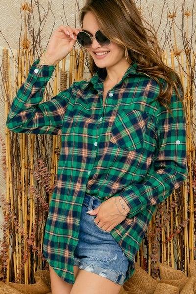Green Button Down Collard Plaid Flannel Shirt