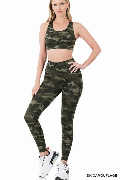Dark Green Camo Sports Bra and Athletic Leggings Set