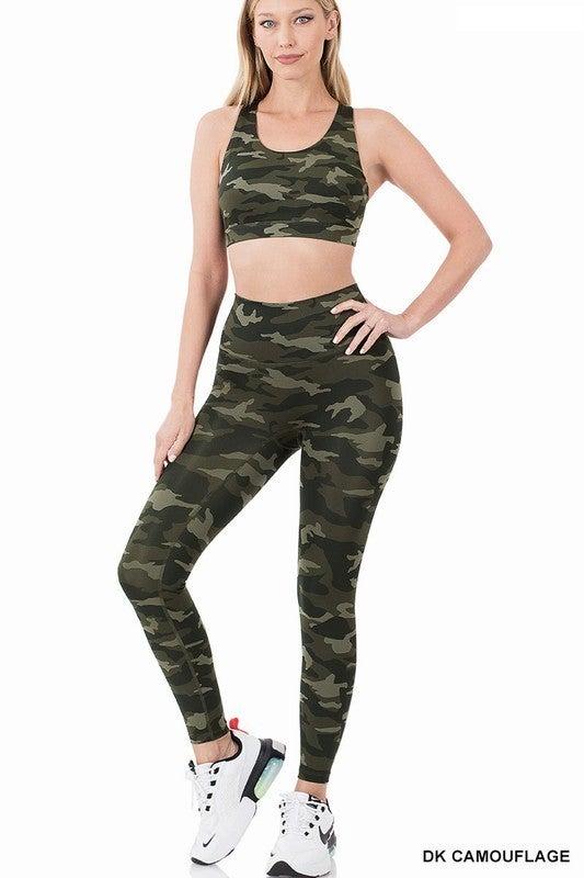 Dark Green Camo Sports Bra and Athletic Leggings Set