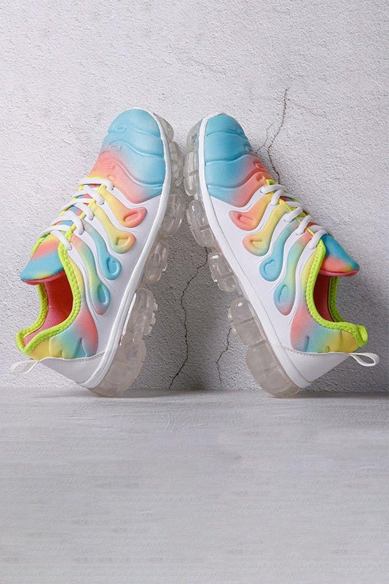 Bright Tie Dye & White Air Cushion Sneakers