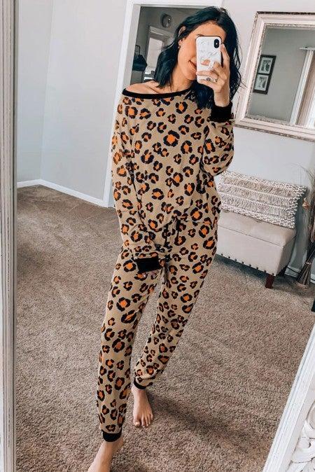 Leopard Long Sleeve Jogger Lounge Set
