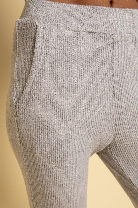 Heather Grey Cashmere Brushed Ribbed Short Sleeve Hoodie & Jogger Set