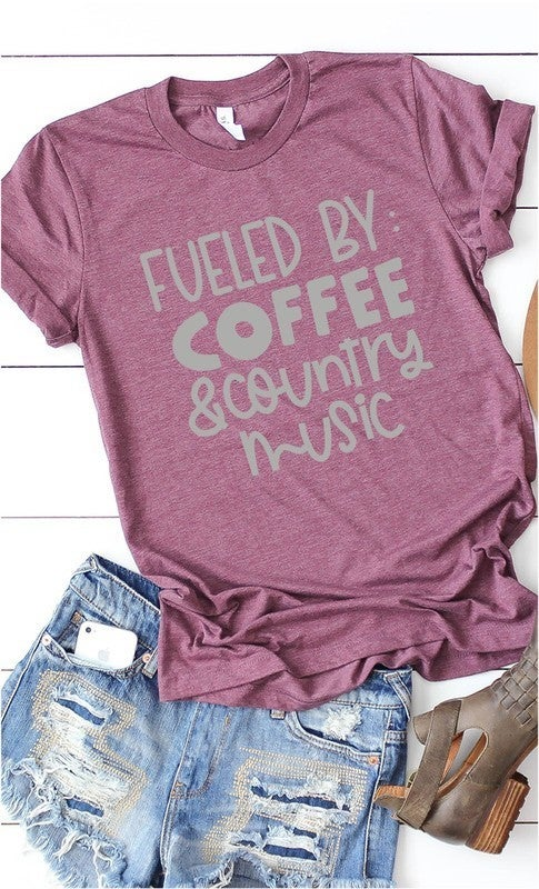 Heather Plum FUELED BY COFFEE & COUNTRY MUSIC Unisex Fit Graphic Tee