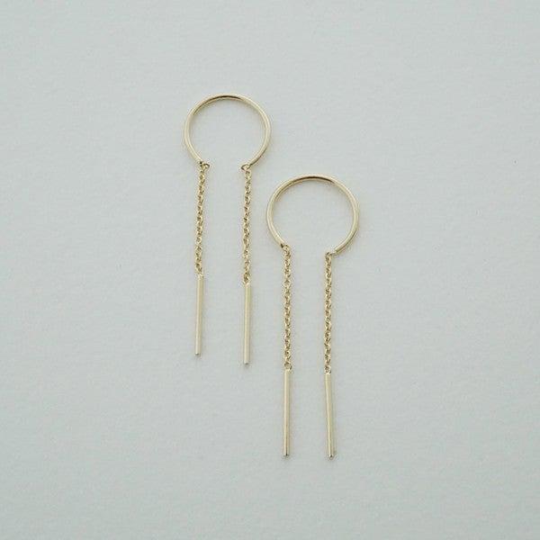 """Threader 2.5"""" Drop Bar & Loop Earrings"""